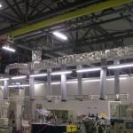 工場内 スポット式空調ダクト設備